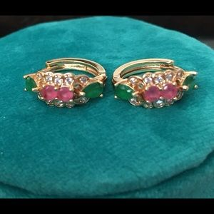 Other - Kids Hoop Earring. Goldtone with precious stone